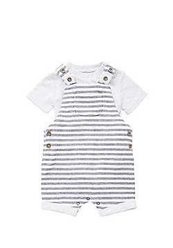 F&F Short Sleeve Bodysuit and Striped Shorts Dungarees Set - Grey & Black