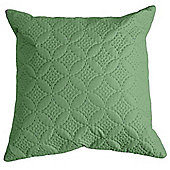 Homescapes Ultrasonic Green Quilted Embossed Filled Cushion, 40 x 40 cm
