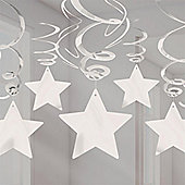 Silver Star Hanging Swirl Decorations - 60cm