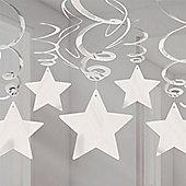 Silver Star Hanging Swirl Decorations - 60cm