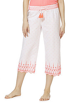 F&F Broderie Anglaise Trim Cropped Lounge Pants - White & Pink
