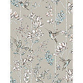 Holden Floral Charm Hummingbird Wallpaper - Soft Gold 12394