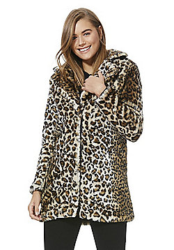 Vero Moda Leopard Print Faux Fur Jacket - Brown multi