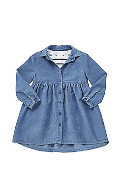 F&F Striped T-Shirt and Corduroy Dress Set - Blue