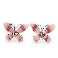 Small Pink Enamel 'Butterfly' Stud Earrings In Silver Plating - 2cm Length