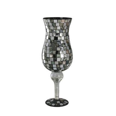 Silver Shell Tile Mosaic Large Stemmed Goblet