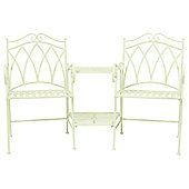Charles Bentley Garden Ornate Wrought Iron Companion Seat - Green
