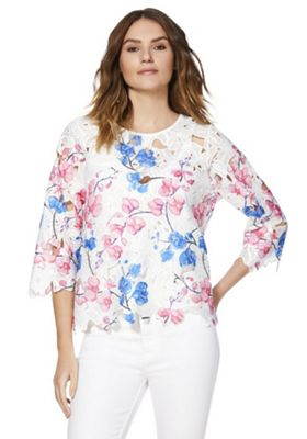 F&F Floral Semi-Sheer Lace Top Multi 14