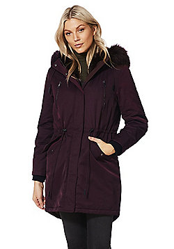 F&F Faux Fur Trim Shower Resistant Parka - Burgundy