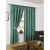 Hamilton McBride Faux Silk Pencil Pleat Teal Curtains - 46x54 Inches (117x137cm) Includes Tiebacks