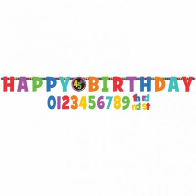 Party - Dots & Stripes Add-An-Age Birthday Letter Banner - Amscan