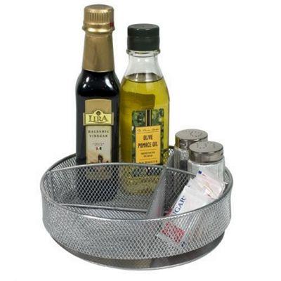 Design Ideas Silver Wire Mesh Spinner Condiment Storage Compartment 351959