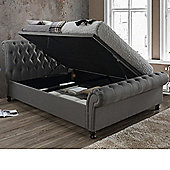 Happy Beds Castello Fabric Side Ottoman Storage Bed - Charcoal - Grey