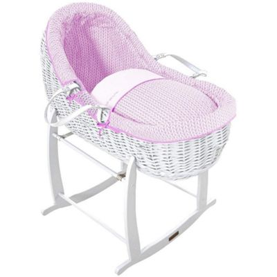 Clair de Lune White Willow Bassinet (Barley Bebe Pink)
