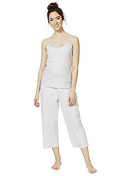 F&F Striped and Lace Trim Cropped Pyjamas - Grey