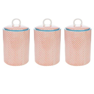 Nicola Spring Porcelain Biscuit Cookie Barrel Jar in Orange / Blue Print - Pack of 3