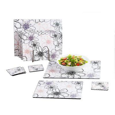 10 Piece White Blossom Placemat Set