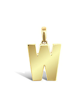 9ct Yellow Gold Initial Charm Identity Pendant - Letter W