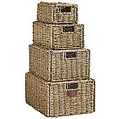 VonHaus Set of 4 Seagrass Storage Baskets with Lids & Insert Handles