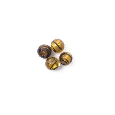 Craft Factory Glass Striped Ball pk4 12mm Gold