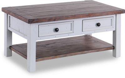 Besp-Oak Hamptons Coffee Table with 2 Drawers - Dark Pine and Grey