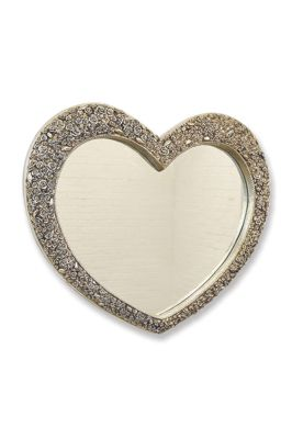 V Large Antique Silver Heart Shaped Wall Mirror 3Ft1x3ft7 (94Cmx109cm) Rectangle
