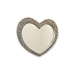 V Large Antique Silver Heart Shaped Wall Mirror 3ft1x3ft7