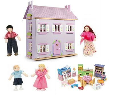 Le Toy Van Lavender House Dolls House with Starter Furniture Set and My Family of 4 Dolls