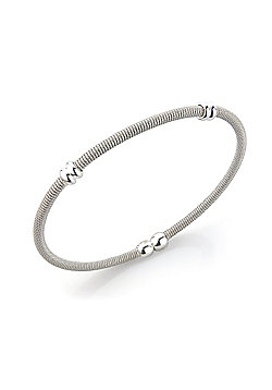 Jewelco London Sterling Silver - Ribbed - Bangle - Ladies