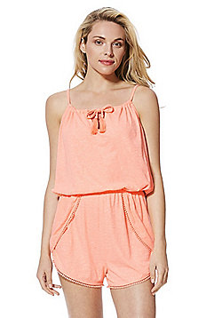 F&F Pom Pom Trim Jersey Beach Playsuit - Peach