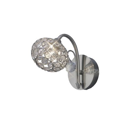 Cara Wall Lamp Switched 1 Light Satin Nickel/Crystal