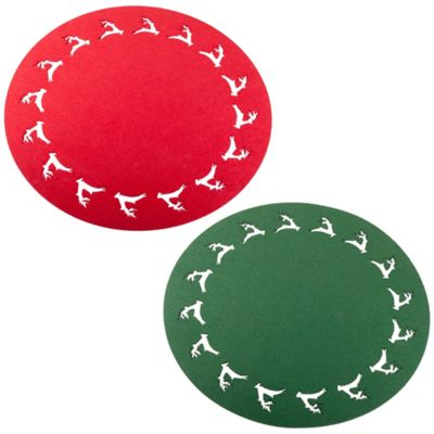 Set of Two 38cm Round Red & Green Christmas Reindeer Placemats