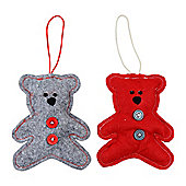 Set of 2 Red & Grey Felt Teddy Bear Christmas Tree Decorations