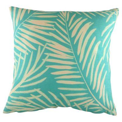 Palm Leaf Cushion, Aqua