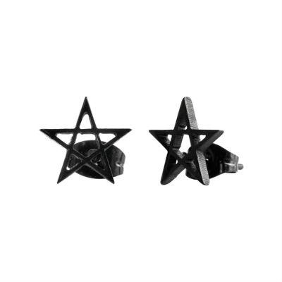 Urban Male Pentagram Star Black Stainless Steel Men's Stud Earrings 10mm