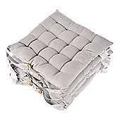 Homescapes Set of 4 Cotton Plain Grey Seat Pads with Button Straps