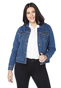 Evans Plus Size Denim Jacket - Blue