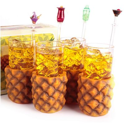 Pack of 4 Retro Pineapple Cup Holders With Highball Glasses 285ml
