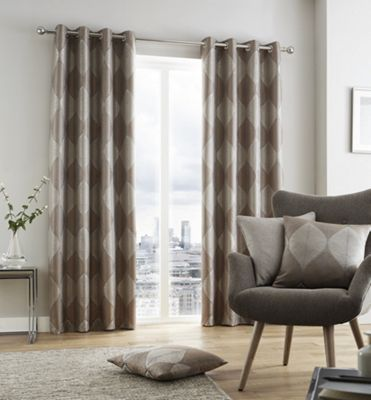 Catherine Lansfield Leaf Jacquard fully lined eyelet curtains - 66x72
