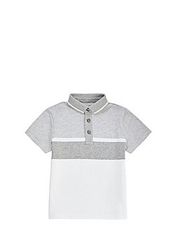 F&F Textured Contrast Collar Polo Shirt - White