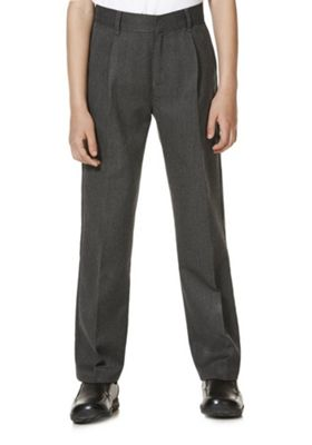 "F&F School 2 Pack of Boys Teflon EcoElite""™ Pleat Front Trousers 4-5 years Grey"