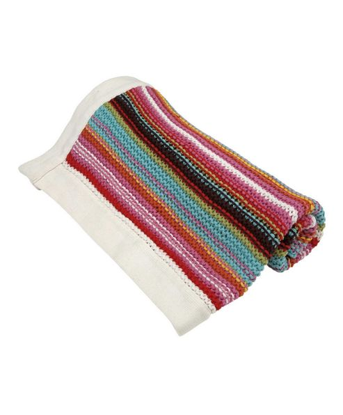 Mamas & Papas - Gingerbread - Striped Knitted Blanket