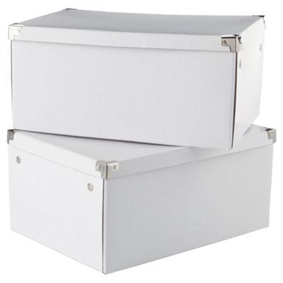 buy white cardboard storage box 2pk large from our storage. Black Bedroom Furniture Sets. Home Design Ideas