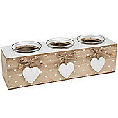 Rustic Heart - Wood And Glass Triple 3 Tea Light Candle Holder - Brown / White