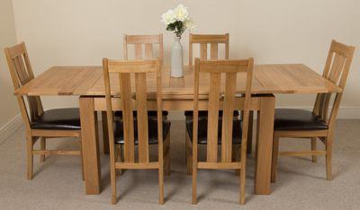Richmond medium Extending Solid Oak Dining Table and 6 Solid Oak Leather Chairs