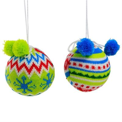 Set of Two Knitted Christmas Tree Baubles