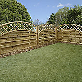 Mercia Convex Horizontal Weave with Trellis Fence Panel 4ft Pressure Treated