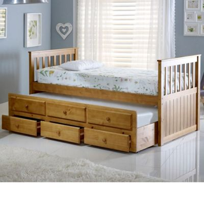 Happy Beds Maple Wood Guest Bed and Underbed Trundle with Storage Drawers - Pine - 3ft Single