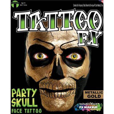Metallic Gold Skull Face Tattoos