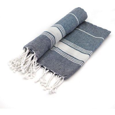 Turkish Beach / Bath / Yoga / Hammam, Peshtemal Towel 100% Cotton - Dark Blue